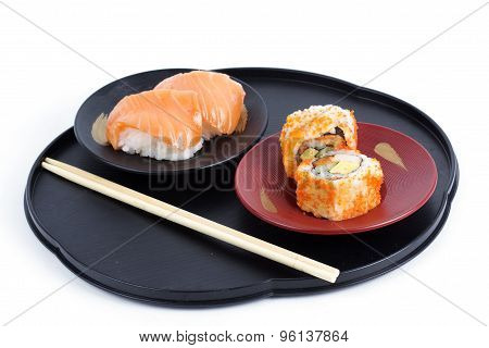 California Roll Maki With Masago And Sushi Salmon