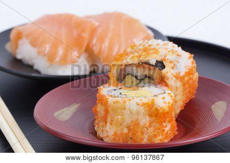 California Roll Maki And Sushi Salmon
