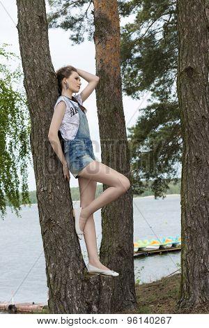 Trendy Urban Girl Near Lake