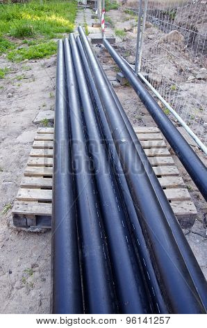 New Industrial Heating Pipes Tube Near Trench In City