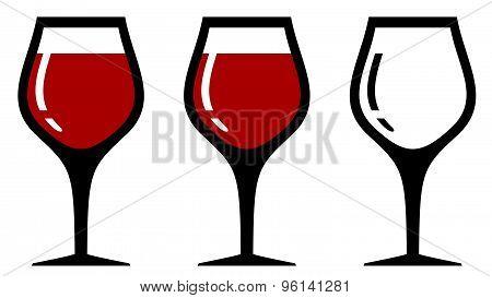 set isolated wine glasses