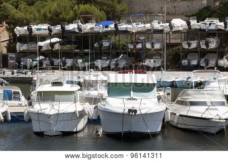 Boat Storage In The Harbour Of Nice France
