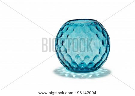 Antique Glass Vase Round And Patterned Dimple Effect