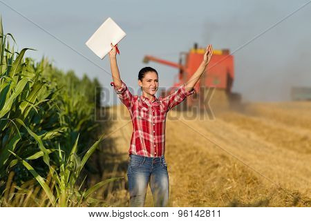 Farmer Woman In Wheat Field