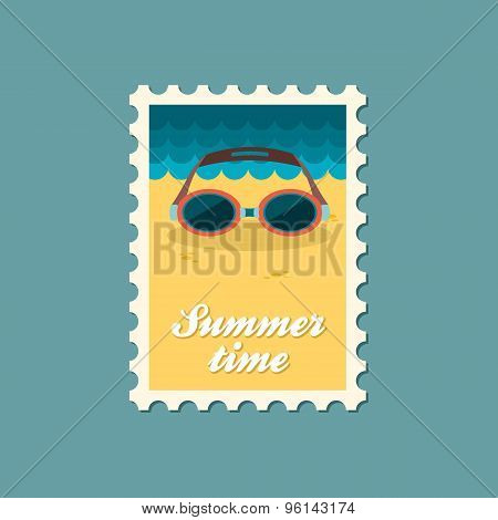 Swimming Goggles Flat Stamp