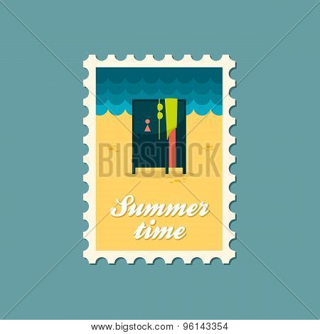 Cloakroom On The Beach Flat Stamp