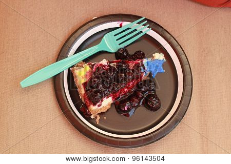 cheesecake with blueberries on paper plate