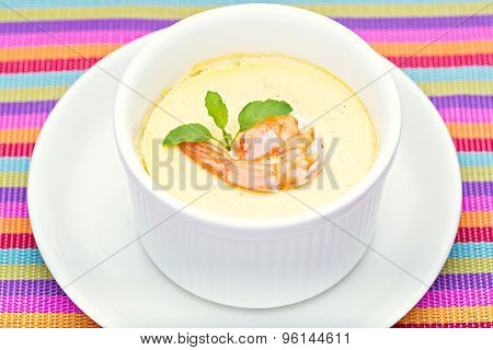 Steamed Egg with fresh shrimp in white cup close up