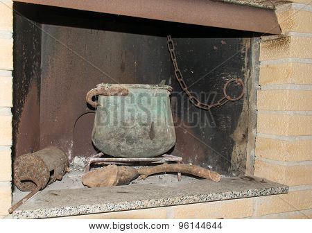 Old Fireplace Of A Country House.