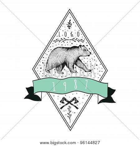 Vintage label bear. Design for T Shirt.