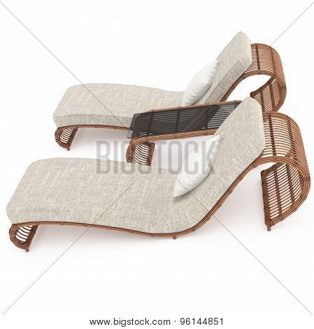 Rattan furniture is a side view 3d graphics
