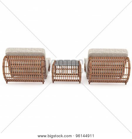 Rattan furniture rear view 3d graphics