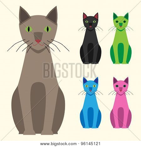 Multicolor Cats Set