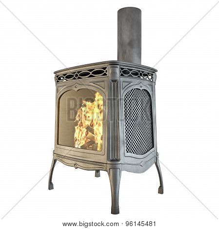 Fireplace classic side view 3d graphics
