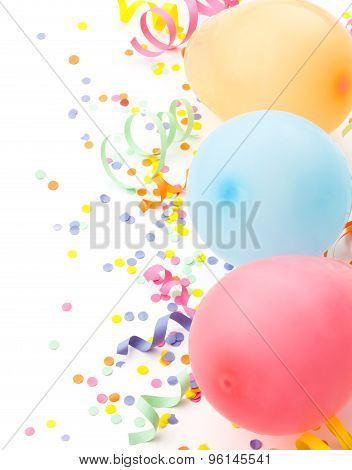 Birthday Arrangement. Balloons And Confetti Isolated On White.