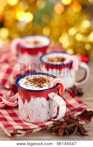 Cups With Hot Chocolate For Christmas Day.