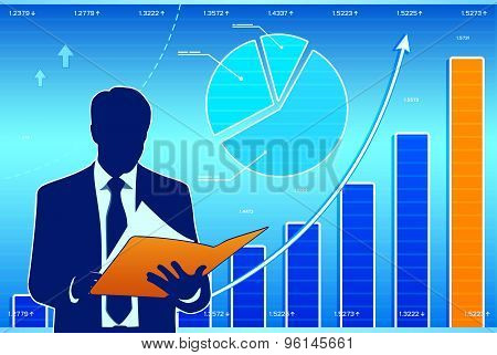 Businessman with financial charts