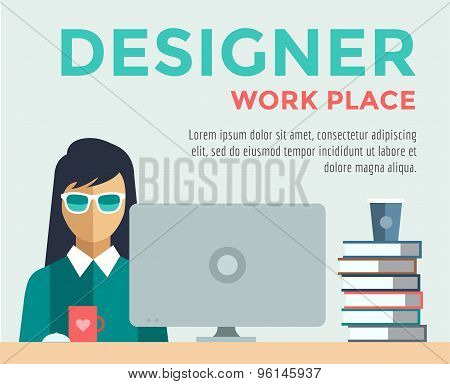 Designer on work place vector logo illustration. Objects, office and creative symbols. Stock design