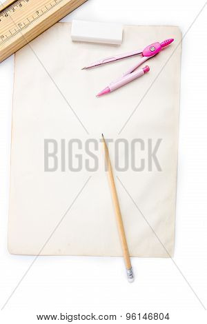 Paper pencil rubber dividers on white background