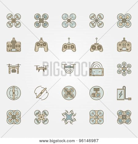 Drone flat icons set