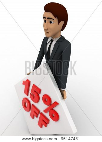 3D Man With 15 Percentage Discount Square Board Concept