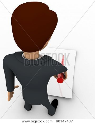 3D Man Pointing On Paper Using Stick Concept