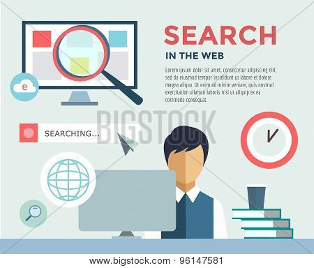 Clerk at Work infographic. Office, Table, Search Information and Computer. Vector stock illustration