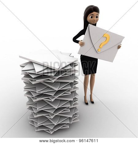 3D Woman With Many Mails In Inbox And One Mail With Question Mark In Hand Concept