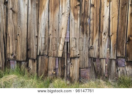 Funky old wood wall at Bodie ghost town in California's Sierra Nevada mountains.