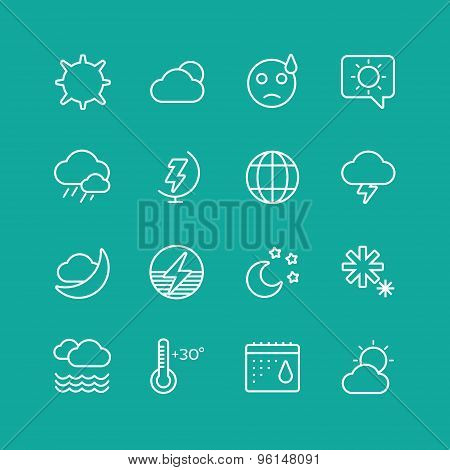 Weather Icons Vector Set. Clouds, Sky or Wind and Interface Elements symbols. Stocks Design Element.