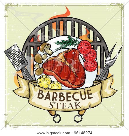 BBQ Grill label design - Steak
