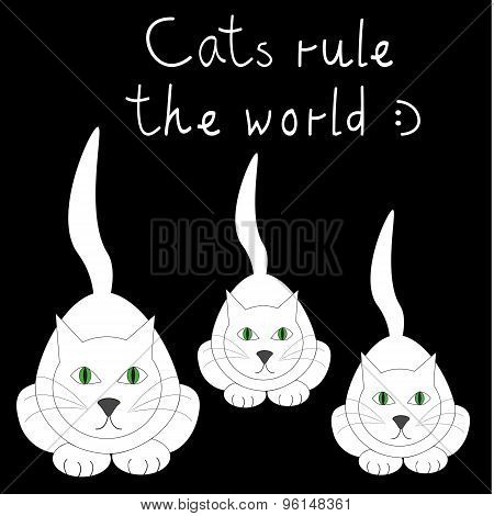 Black Vector Card With Three White Cats And Funny Text