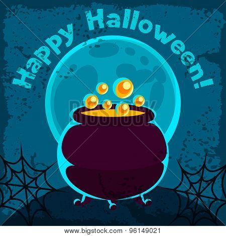 Happy halloween greeting card with pot of potion