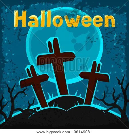 Happy halloween greeting card with cemetery and graves