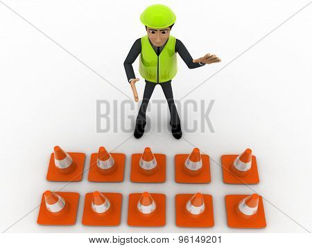 3D Man Constraction Builder Stoping Man From Entering Concept