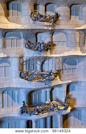 BARCELONA, SPAIN - MAY 01: Small scale model of Casa Milla, with details of the facade of the house made by the Catalan architect Antonio Gaudi, May 01, 2015 in Barcelona, Spain