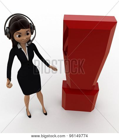 3D Woman Wearing Headphone And With Exclamation Mark Concept