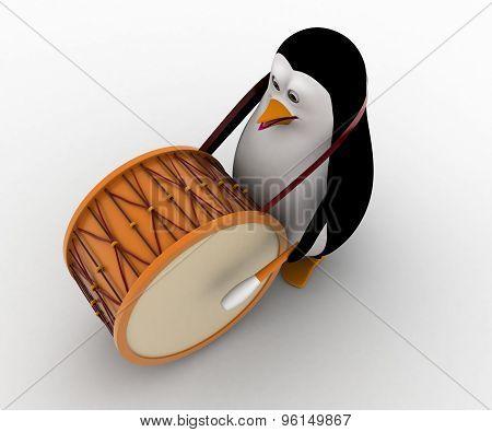 3D Penguin Play Big American Drum For Announcement Concept