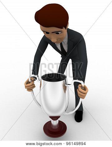 3D Man Carry Up Silver Winner Cup Award Concept