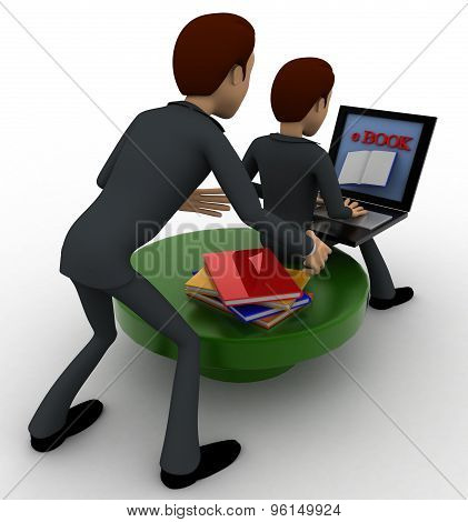 3D One Man Reading E Book On Laptop And Another Man Stealing Book From Behind Concept