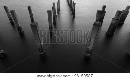 Black and White of Fence protect sandbank