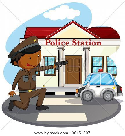 Policeman in uniform and police station