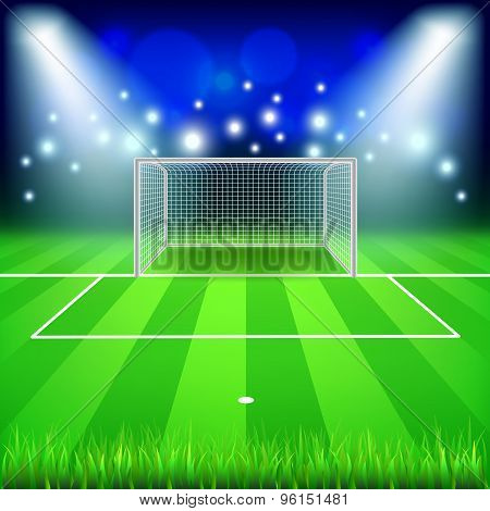 Soccer Goal On Field Vector Background