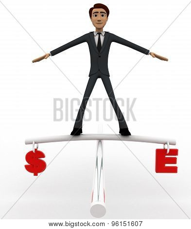 3D Man Balancing Dollar And Euro Currency On Rope Concept