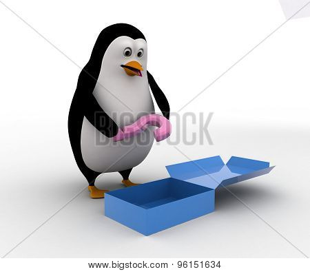 3D Penguin Found Question Mark In Empyt Box Concept