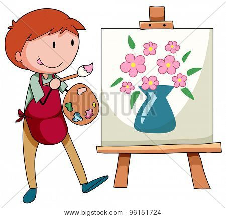 Man drawing and painting flower