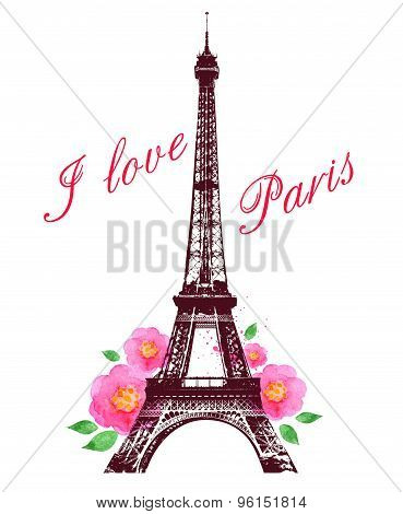 Watercolor Roses And Eiffel Tower