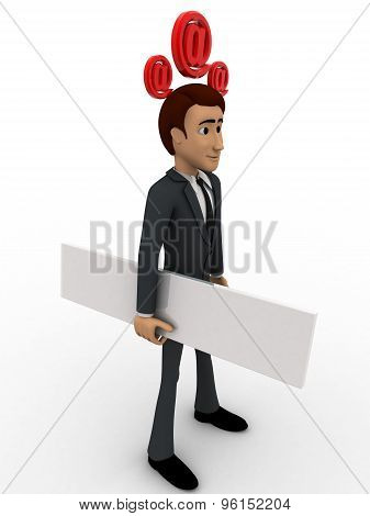 3D Man With Blank Paper And Three Email Icon On Head Concept