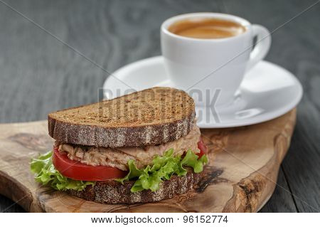 espresso and sandwich with tuna for breakfast or lunch