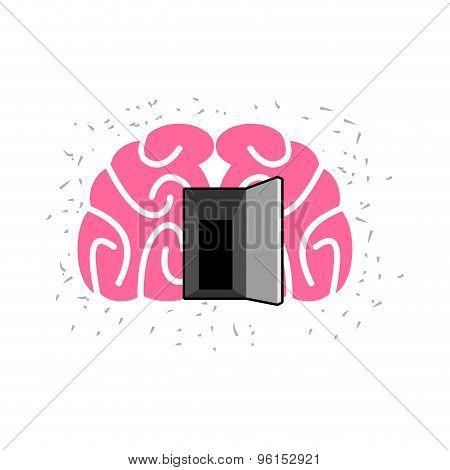 Brain With Door Open. Open Mind. Vector Illustration